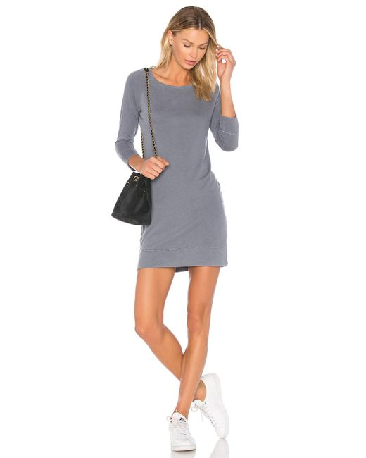 James Perse | Gray Raglan Sweatshirt Dress | Lyst