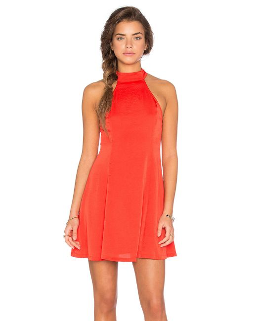 Lucca couture Washed Satin Mock Neck Fit N Flare Dress in Red  Lyst