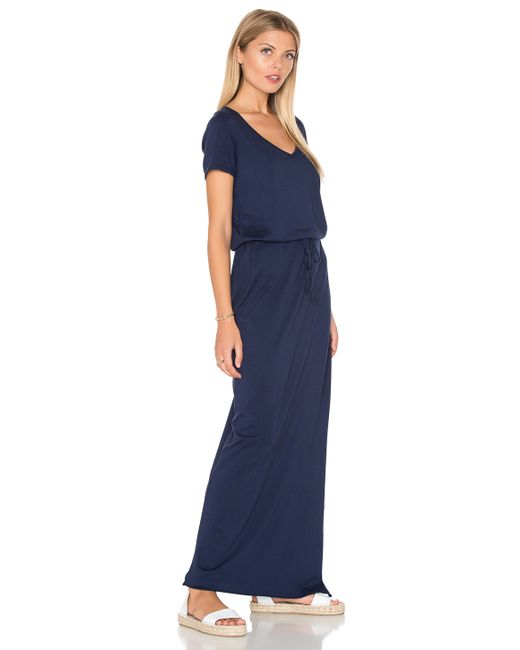 Michael stars v neck drawstring maxi dress in blue lyst for Michael stars t shirts on sale