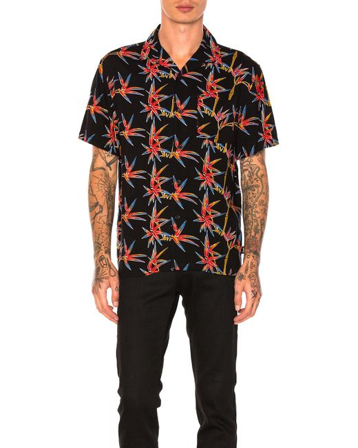 Stussy bamboo button down in black for men lyst for Bamboo button down shirts