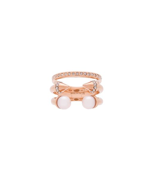 Vita Fede | Pink Triple Pearl Titan & Crystal Band Ring | Lyst
