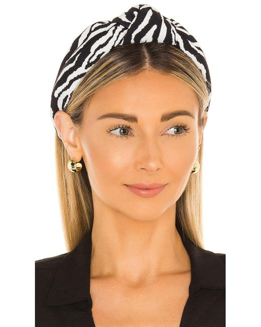 Обруч Knotted В Цвете Zebra Jacquard Lele Sadoughi, цвет: Black
