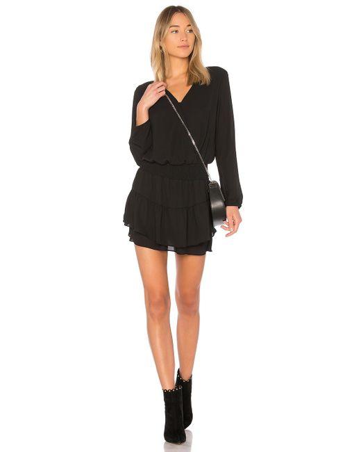Krisa Black Smocked Surplice Dress