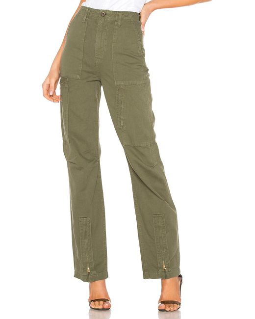 Re/done Green Originals High Rise Cargo Pant