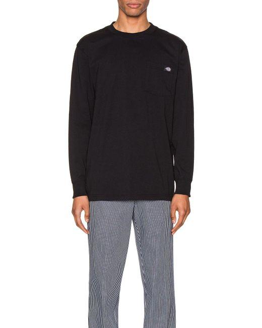 メンズ Dickies ロングスリーブtシャツ Black