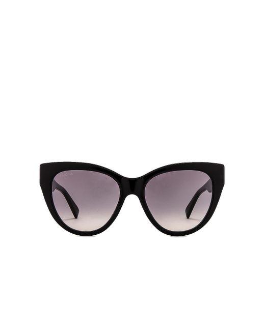Солнцезащитные Очки Web Plaque В Цвете Shiny Solid Black & Grey Gradient Gucci