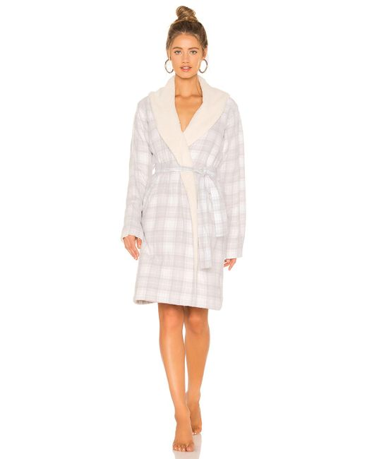 ... Ugg - White Anika Flannel Robe - Lyst ... a2d8cd0fc