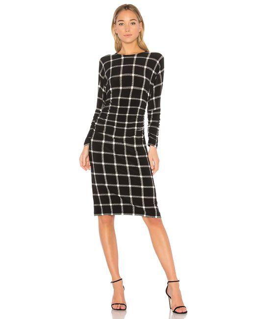 Norma Kamali | Black Dolman Shirred Waist Dress | Lyst