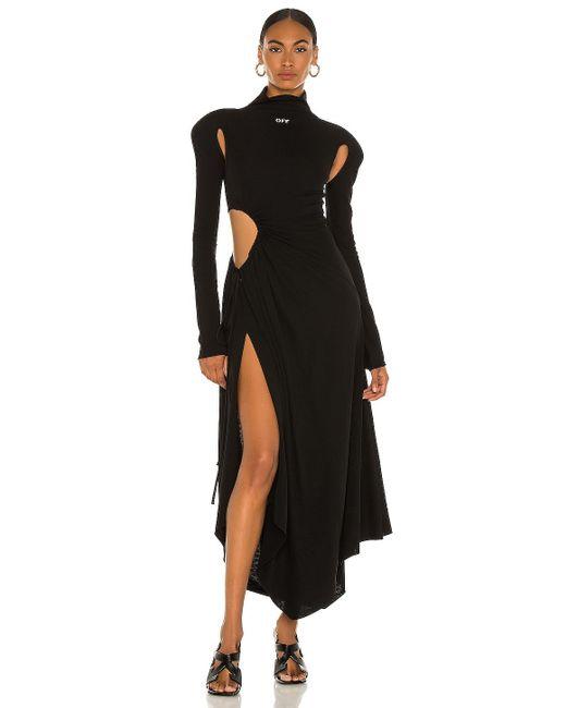 Платье Plisse В Цвете Черный Off-White c/o Virgil Abloh, цвет: Black