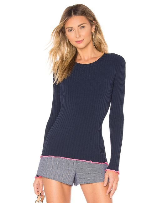 MILLY Blue Contrast Edge Pullover