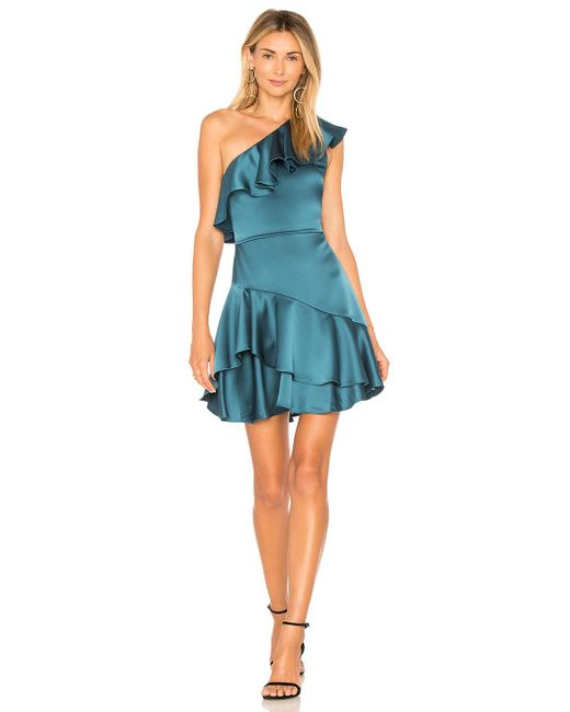 Halston Heritage - Blue One Shoulder Flounce Dress In Teal - Lyst