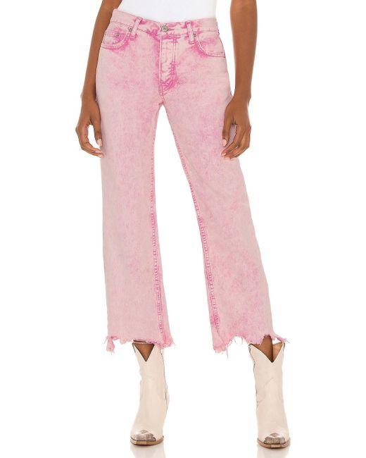 Джинсы MAGGIE В Цвете Pink Acid Wash Free People, цвет: White