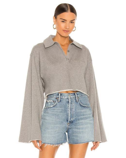 L'academie Gray Collared Button Up Top