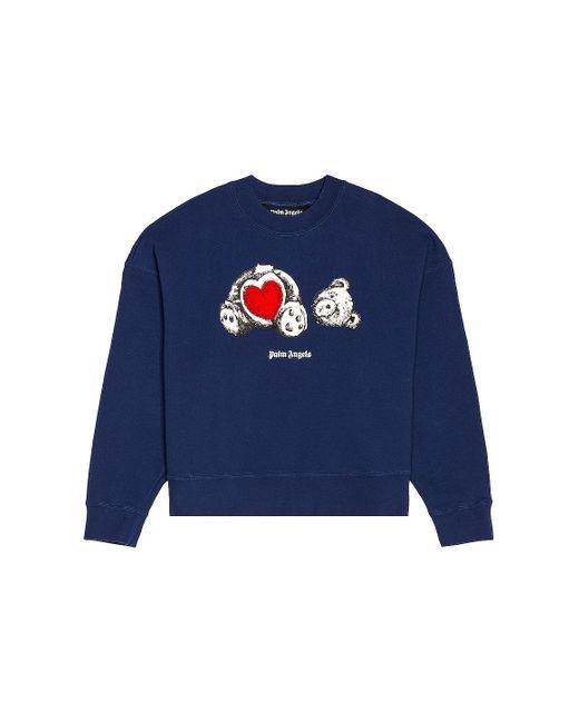 メンズ Palm Angels Bear In Love スウェットシャツ Blue
