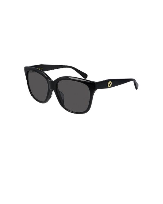 Солнцезащитные Очки Logo Square В Цвете Shiny Black & Grey Gradient Gucci