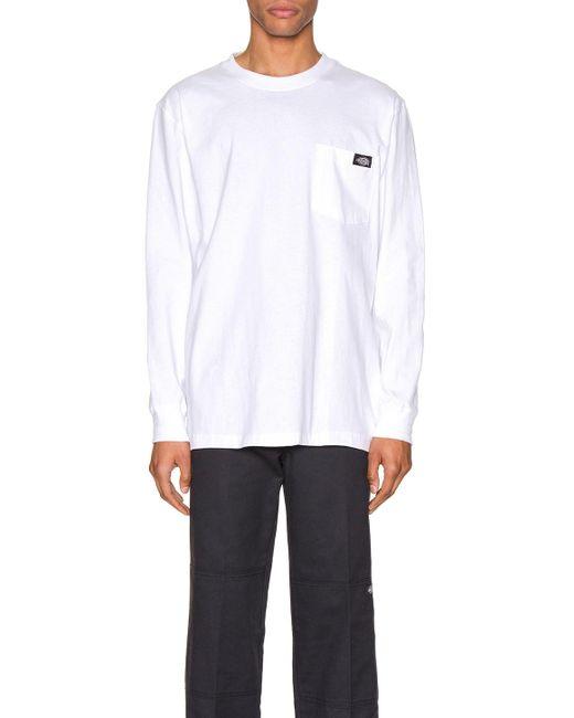 メンズ Dickies ロングスリーブtシャツ White
