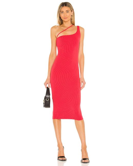 h:ours Red Niall Midi Dress