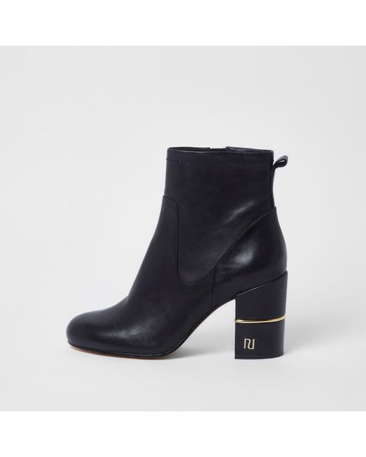River Island - Black Gold Tone Trim Block Heel Ankle Boots - Lyst