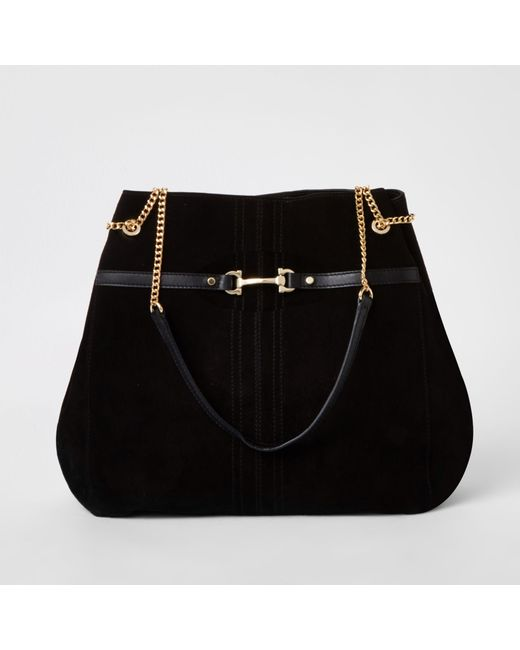 dba6d56250 River Island - Black Leather Snaffle Front Slouch Bag - Lyst ...