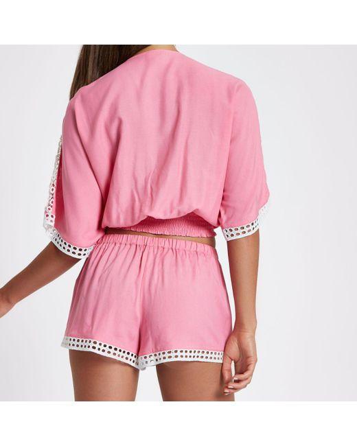 Womens Pink broderie tassel trim beach shorts River Island Excellent Discount Best Store To Get 12S5GAd