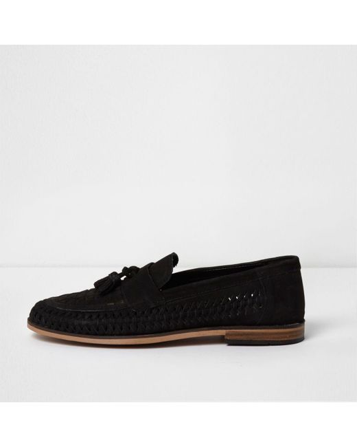 River Island | Black Suede Woven Tassel Loafers Black Suede Woven Tassel Loafers | Lyst