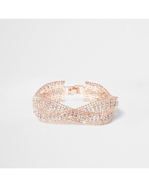 River Island | Pink Rose Gold Tone Wavy Double Band Bracelet Rose Gold Tone Wavy Double Band Bracelet | Lyst