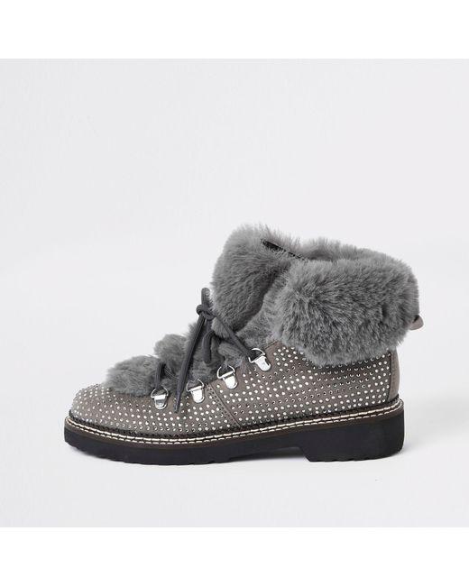 River Island - Gray Grey Check Faux Fur Tri Boots - Lyst