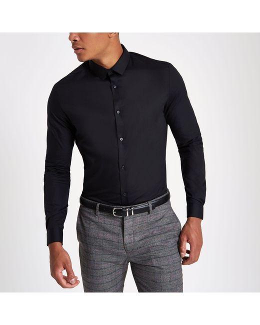 c44ee1e6 River Island - Black Slim Fit Long Sleeve Smart Shirt for Men - Lyst ...