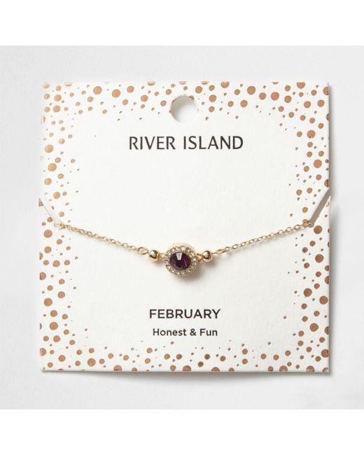 River Island | Purple Gem February Birthstone Bracelet | Lyst