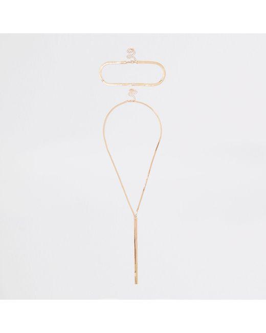 River Island - Metallic Tone Interlinked Necklace Set - Lyst