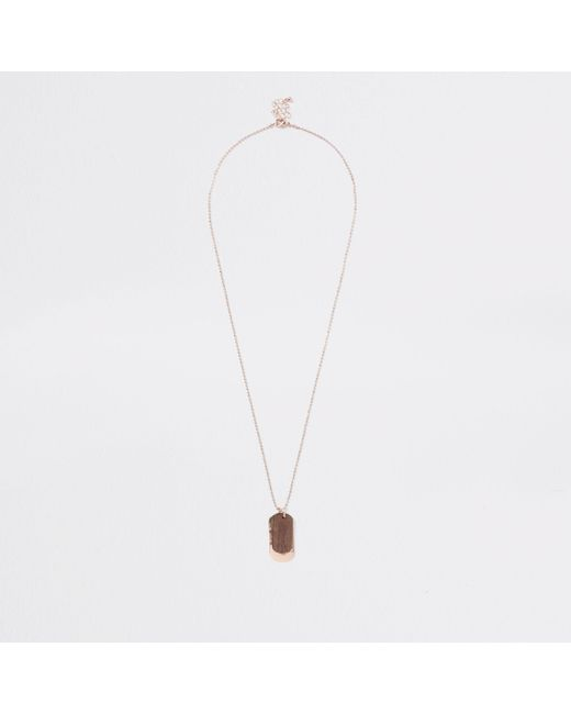 River Island - Metallic Gold Tone Wooden Dog Tag Necklace for Men - Lyst