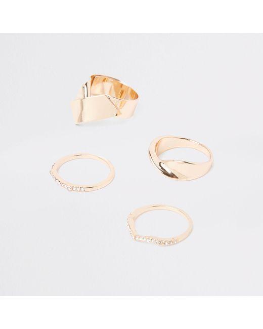 River Island - Metallic Tone Chunky Rhinestone Ring Pack - Lyst