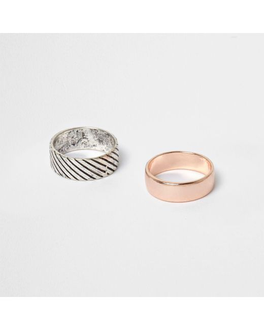 River Island | Metallic Silver Tone And Rose Gold Tone Ring Multipack | Lyst