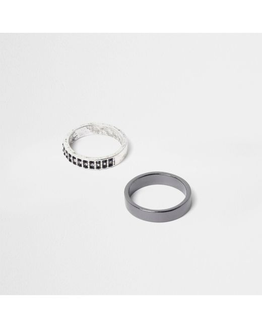 River Island - Metallic Silver Tone Embellished Ring Pack - Lyst
