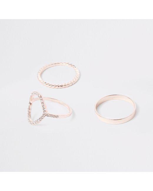 River Island - Metallic Rose Gold Tone Ring Multipack - Lyst