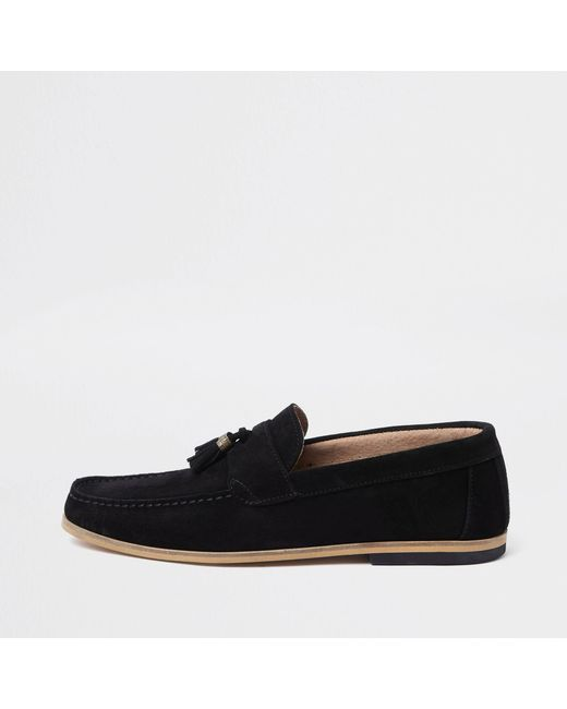 River Island - Black Suede Contrast Heel Tassel Loafers for Men - Lyst