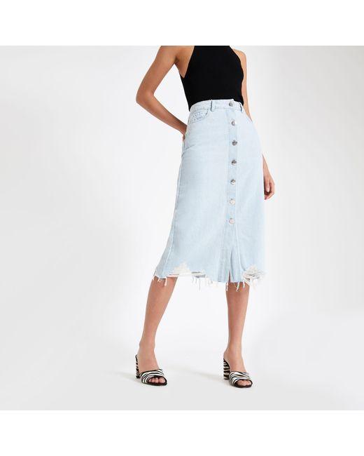 d86580776 Lyst - River Island Light Blue Button Front Midi Denim Skirt in Blue