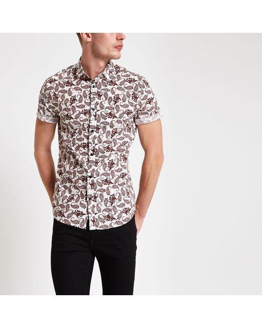 2a3de64b River Island - Multicolor Burgundy Paisley Print Short Sleeve Shirt for Men  - Lyst ...