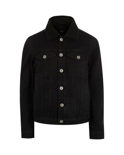 River Island | Black Borg Collar Denim Jacket Black Borg Collar Denim Jacket for Men | Lyst