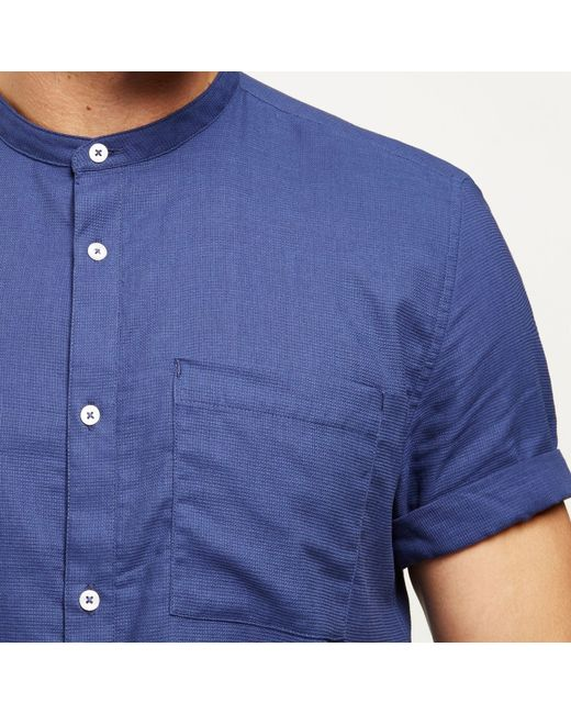 River island dark blue short sleeve grandad shirt in blue for Short sleeve grandad shirt