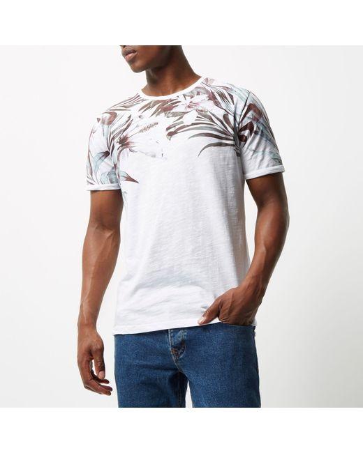River island white floral shoulder print t shirt in floral for Mens white floral shirt