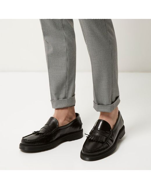 River Island Black Heavy Sole Loafers In Black For Men Lyst