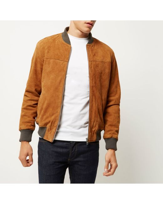 Suede Bomber Jacket Womens