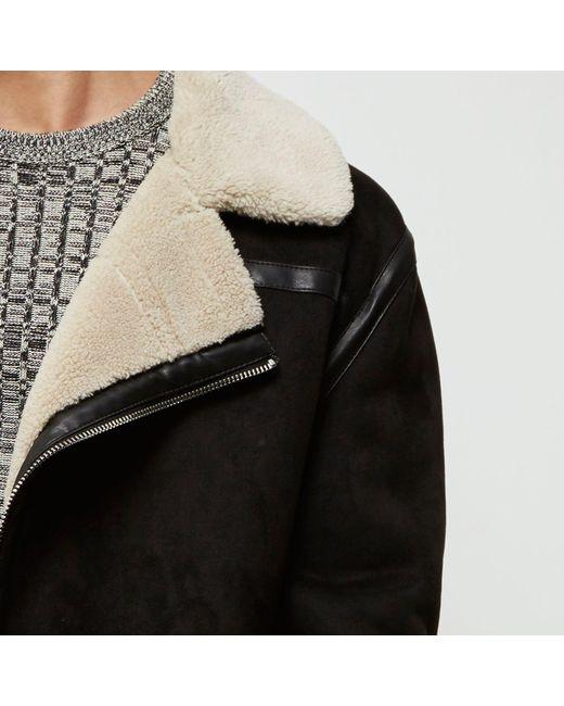 River Island Black Borg Collar Faux Suede Jacket In Black