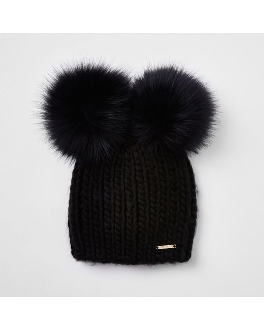 River Island Black Faux Fur Double Pom Pom Beanie in Black - Lyst 7beeddf68
