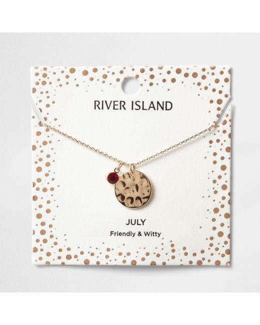 River Island - Red Gem July Birthstone Necklace - Lyst