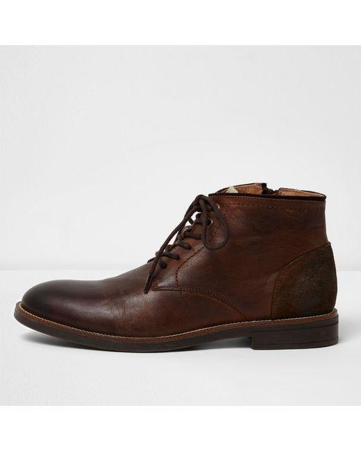 32c41885753 Men's Dark Brown Leather Chukka Boots
