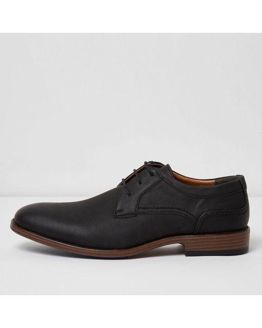 river island black embossed formal shoes in black for