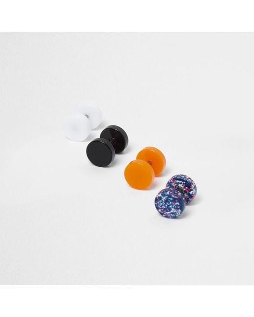 River Island   Black Neon Plug Earring Multipack   Lyst