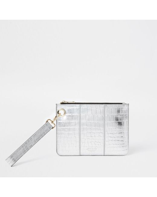 River Island Metallic Silver Leather Croc Embossed Clutch Handbag